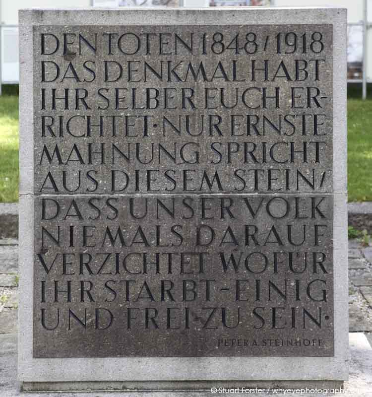 Inscription on the memorial erected in 1948 at the Cemetery of the March Fallen (Friedhof der Märzgefallenen) in Berlin, Germany.