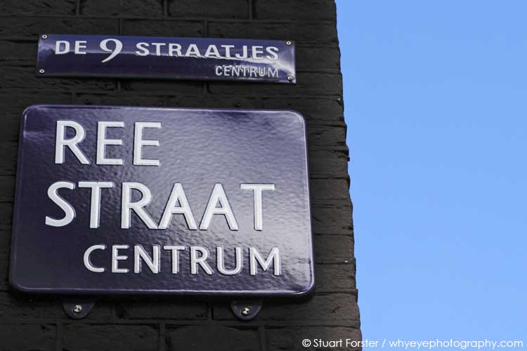 Sign for Ree Straat in the Negen Straatjes (Nine Streets) in central Amsterdam.
