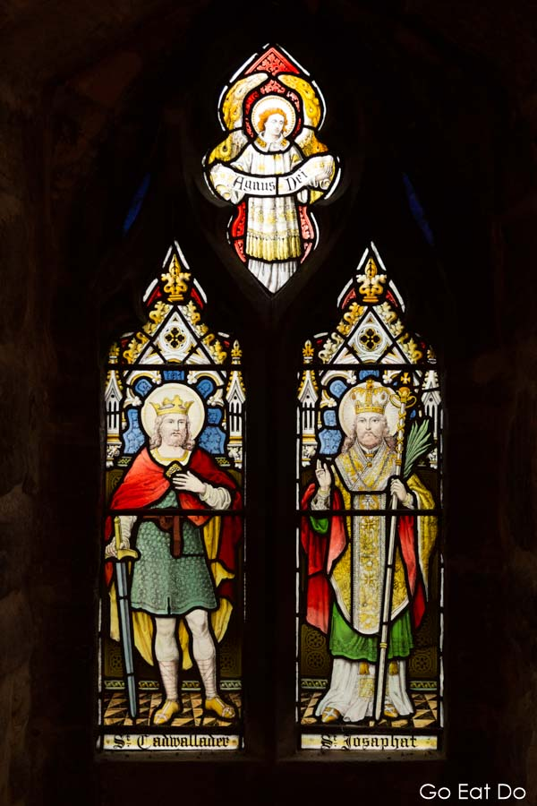 A stained glass window in Langley Castle, dedicated to the restorers of the medieval fortification.