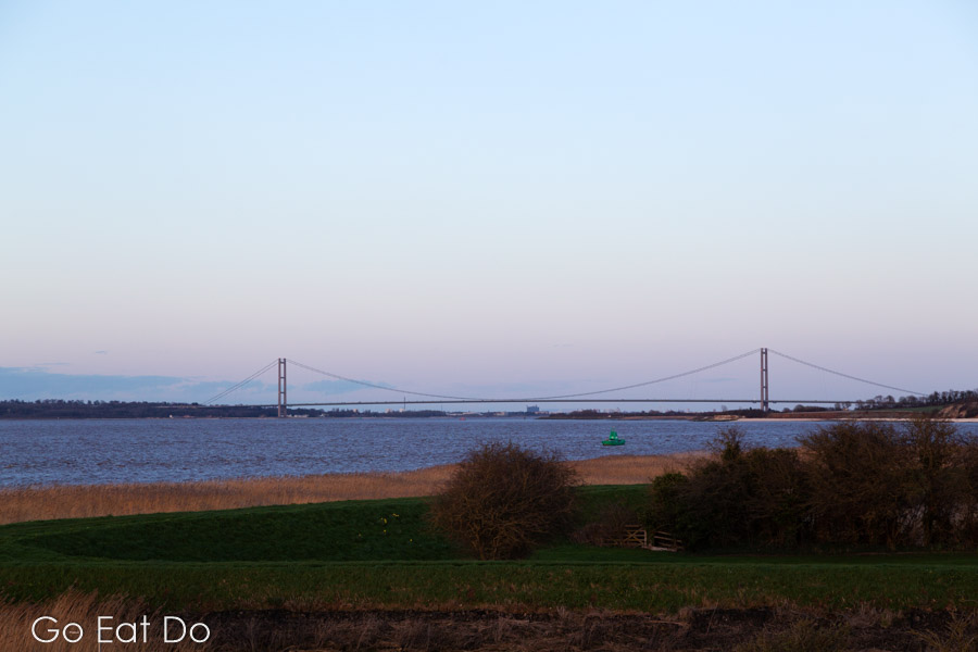 The Humber Bridge, spanning the River Humber, seen from the window of Pebbly Beach.