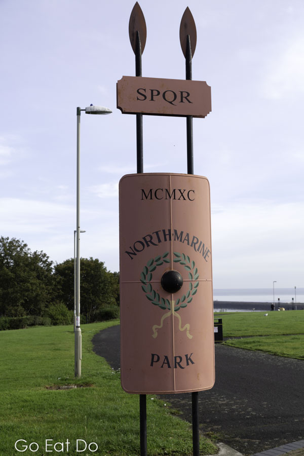 Roman style shields and spears mark the entrance to North Marine Park in South Shields.