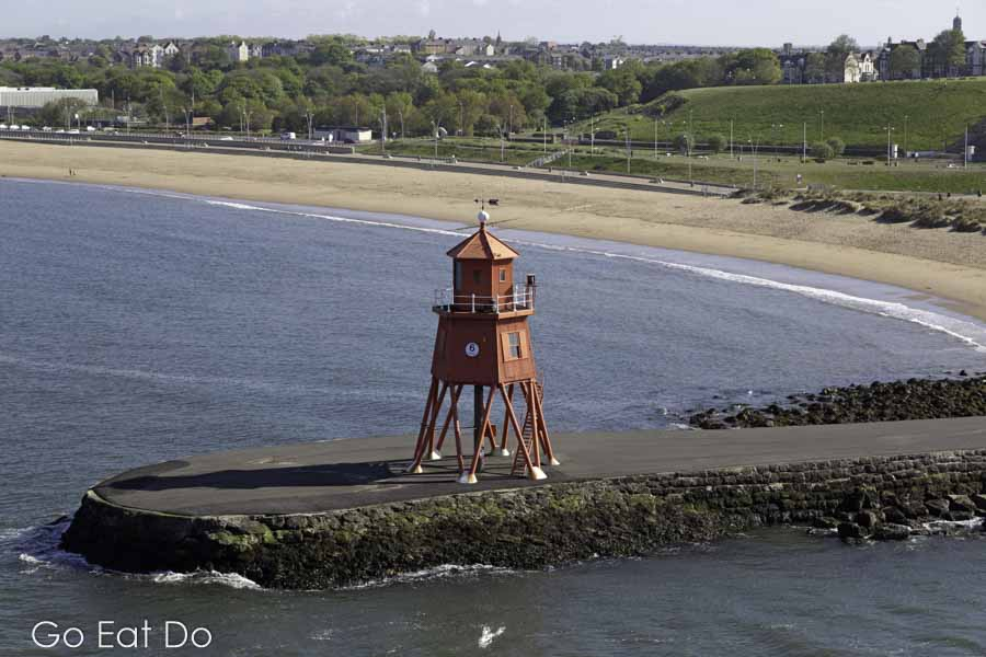 Herd Groyne Lighthouse at South Shields was constructed in the 1880s on the Groyne Promenade