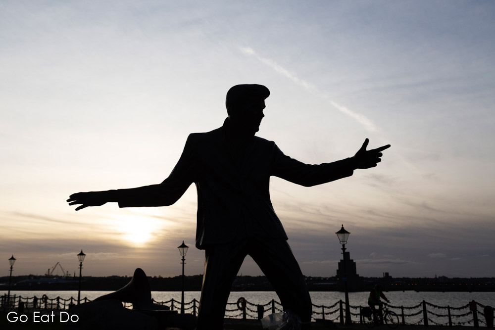 Liverpool has a strong pop music culture. This statue of Billy Fury, by Tom Murphy, is on the waterfront by the River Mersey in Liverpool, England