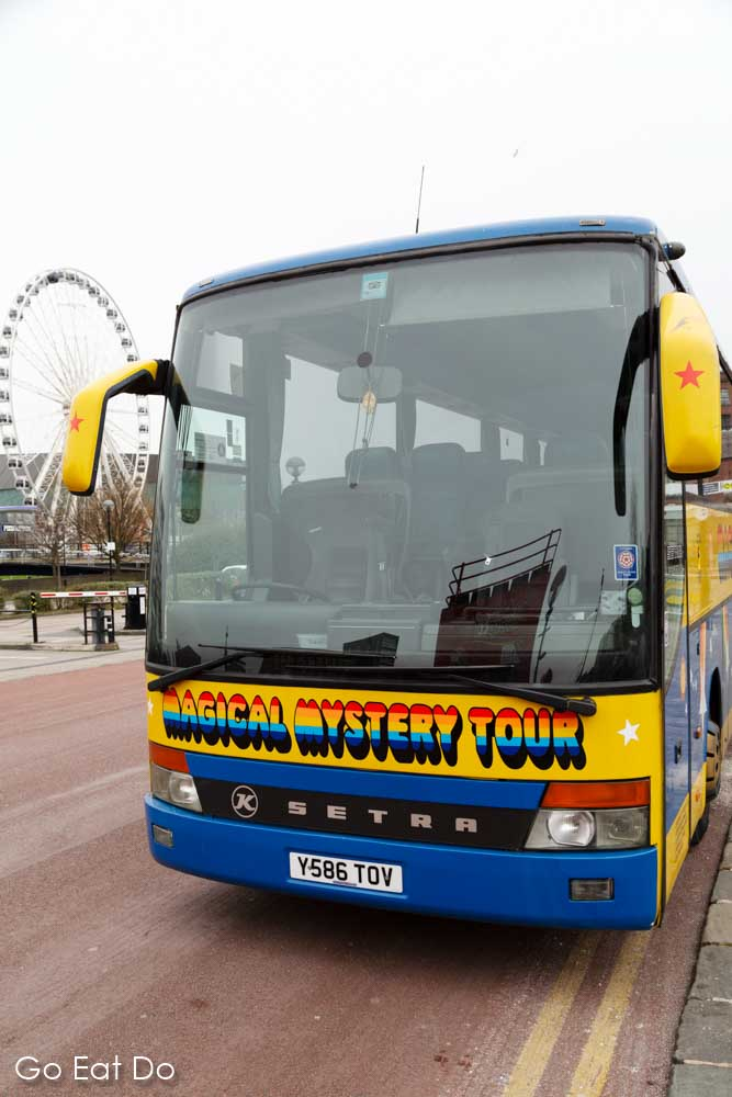 The Magical Mystery Tour bus which transports participants on a guided tour of places associated with The Beatles in Liverpool, England