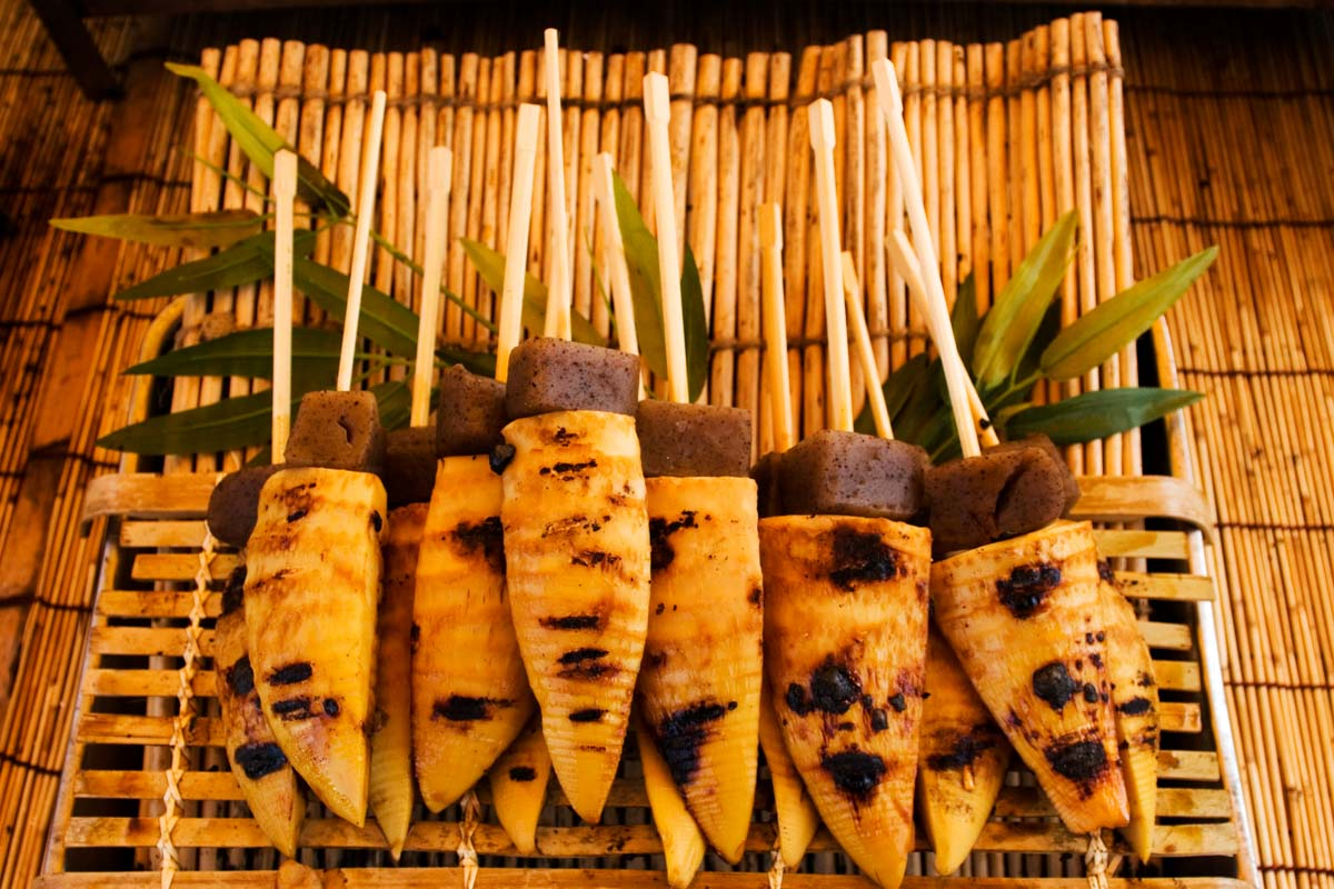 Roasted parsnips offered for sale at Kyoto's monthly market in the grounds of the Toji Temple