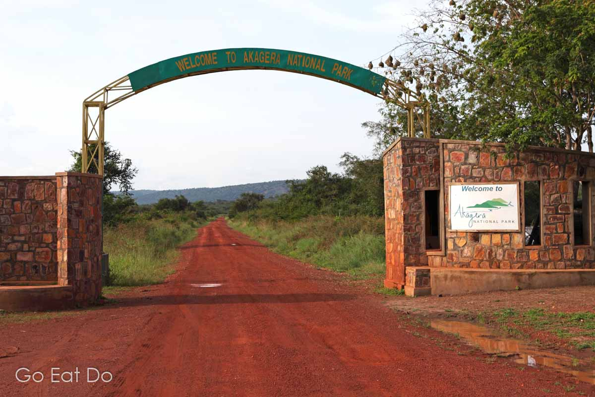Gate at the southern entrance to Rwanda's Akagera National Park.