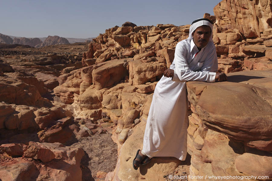 Bedouin guide in the Coloured Canyon in the Sinai Desert, Egypt