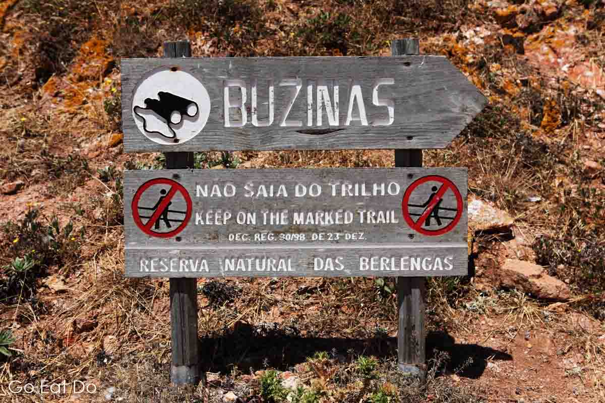 Sign indicating a scenic viewing spot on the Berlengas Islands off Portugal. The Reserva Natural das Berlengas is home to many seabirds