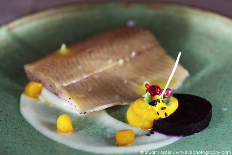 Sten Fischer's creation of smoked Ilm river trout with beetroot, pumpkin and kohlrabi served in the Alt Weimar restaurant in Weimar, Germany.  Photo by Stuart Forster.