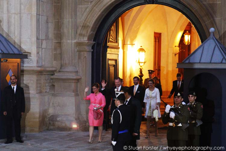 Grand Duke Henri and his family greet onlookers outside of the Grand Ducal Palace in Luxembourg. Photo by Stuart Forster.
