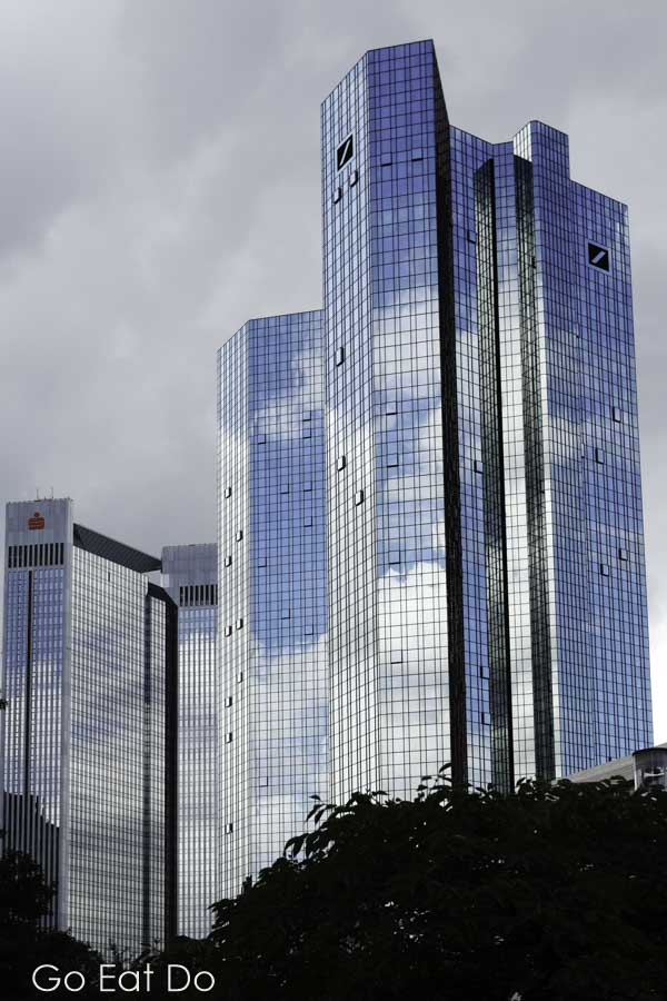 The Deutsche Bank head office and skyscrapers in Frankfurt am Main, Germany