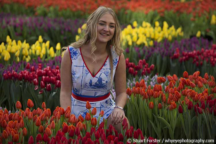 Jessy wears a Delft-inspired dress on National Tulip Day in the Netherlands.