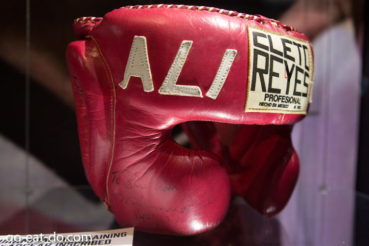 Headguard signed by Muhammad Ali to Sylvester Stallone displayed in the Muhammad Ali exhibition at the O2 in London, England