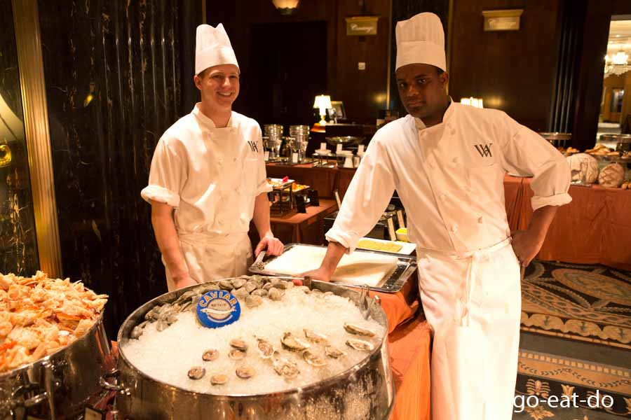 Seafood - eat it. The raw bar at the Waldorf Astoria hotel in New York, USA.