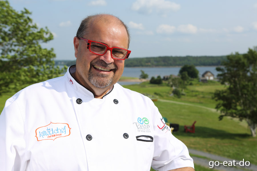 Celebrity chef Alain Bosse, known as the Kilted Chef, in Pictou, Nova Scotia, Canada.