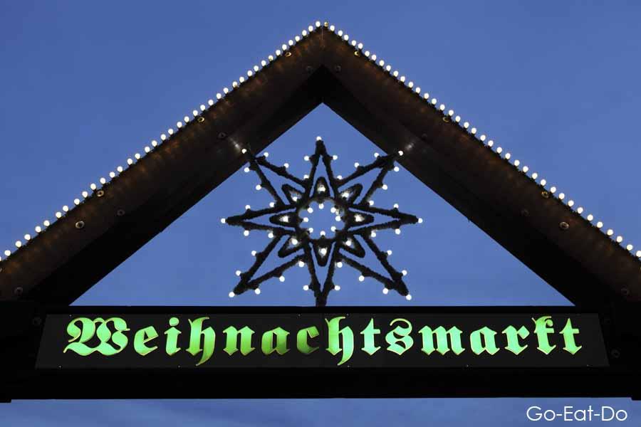 Sign for the Christmas Market (Weihnachtsmarkt) in Stuttgart.