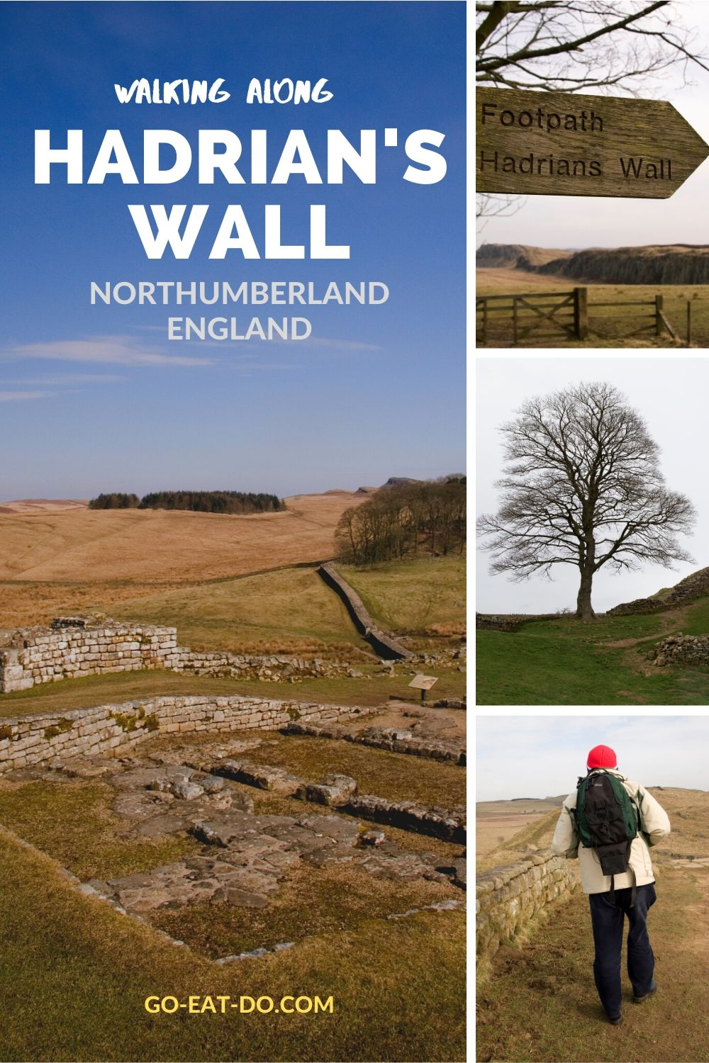 Pinterest pin for Go Eat Do's blog post about walking along Hadrian's Wall in Northumberland, England
