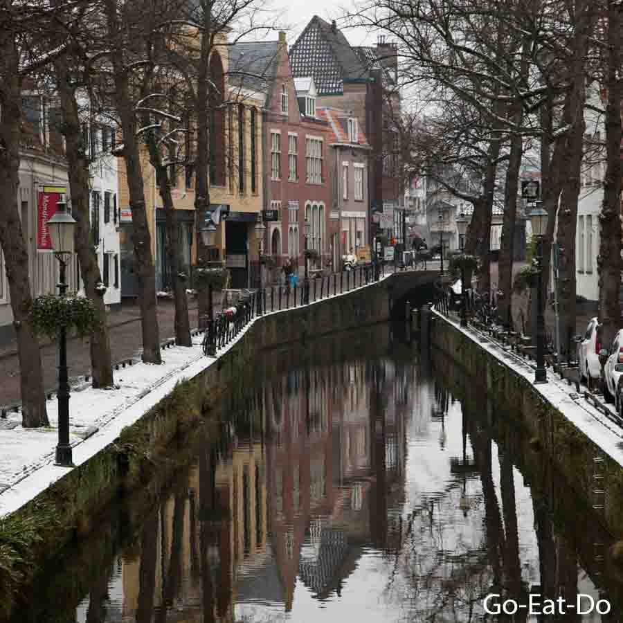 Winter view along Kortegracht canal in Amersfoort, the Netherlands