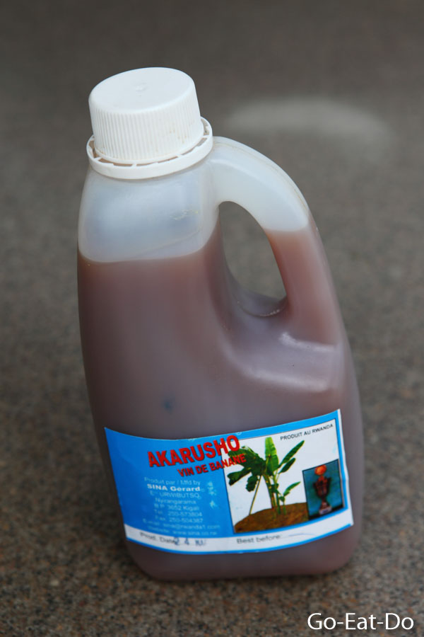 A litre of banana beer bought from a shop in Rwanda.