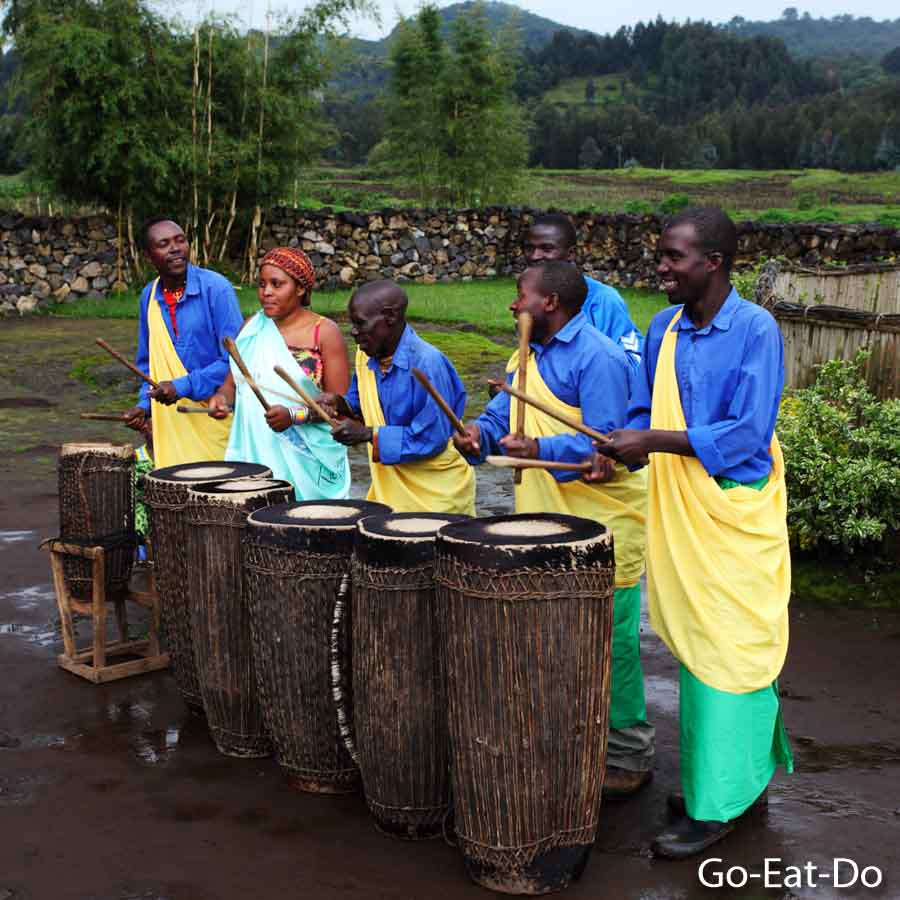 Drummers at the Iby'lwacu Cultural Village on the edge of the Volcanoes National Park, Rwanda.