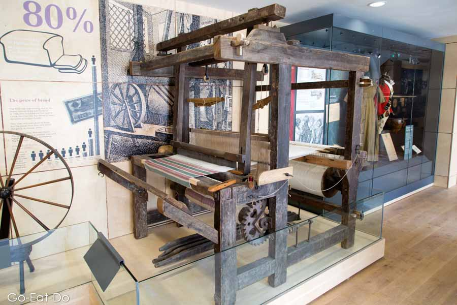 18th-century handloom, an exhibit at The Piece Hall Story in Halifax, West Yorkshire