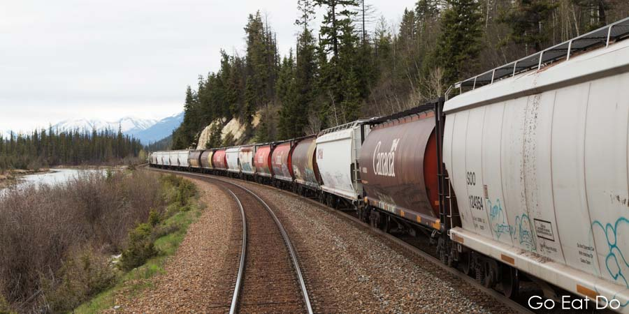 A freight train running on the Canadian Pacific Railway near Revelstoke in British Columbia, Canada