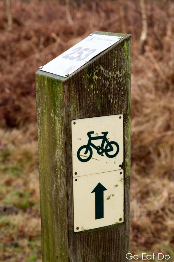A sign for a New Forest cycle trail