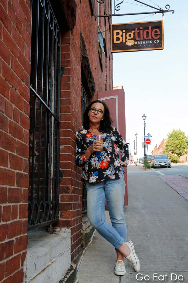 Wendy Papadopoulos, female brew master and part-owner of Big Tide Brewing Company in Saint John, New Brunswick outside of the bar
