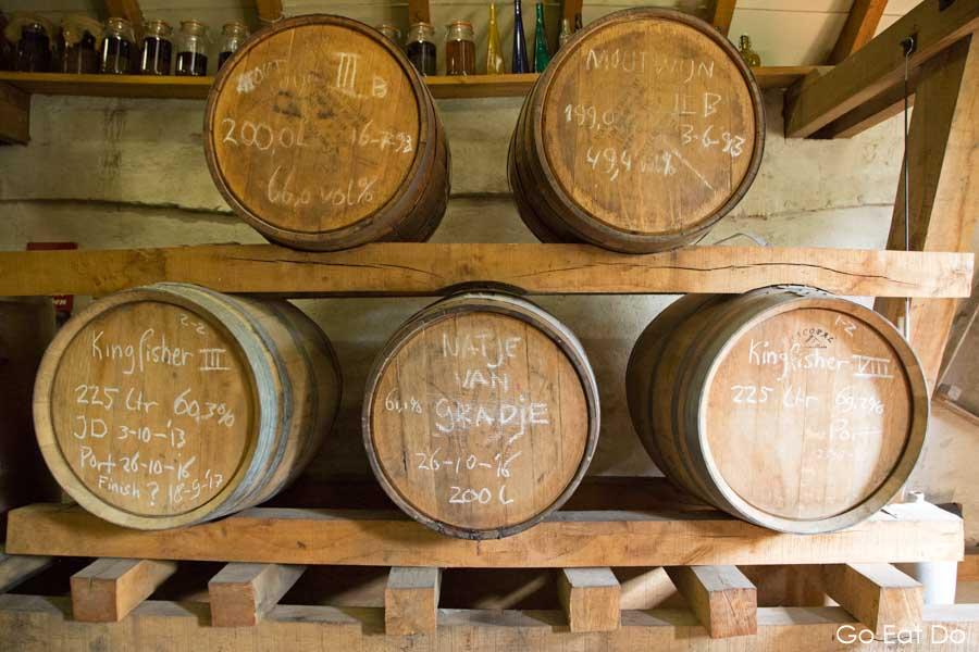 Wooden barrels of spirits maturing at the Eisvogel distillery at Arcen in Limburg, the Netherlands