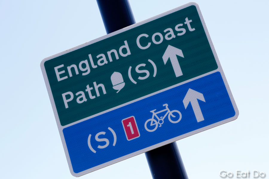 Sign for a cycle path at Tynemouth in the north-east of England.