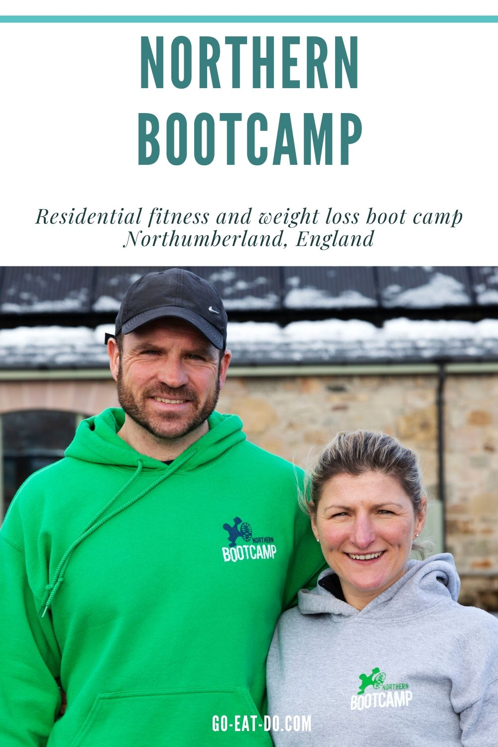 Pinterest pin for Go Eat Do's blog post about experiencing a residential fitness and weight loss boot camp with Northern Bootcamp in Northumberland, England