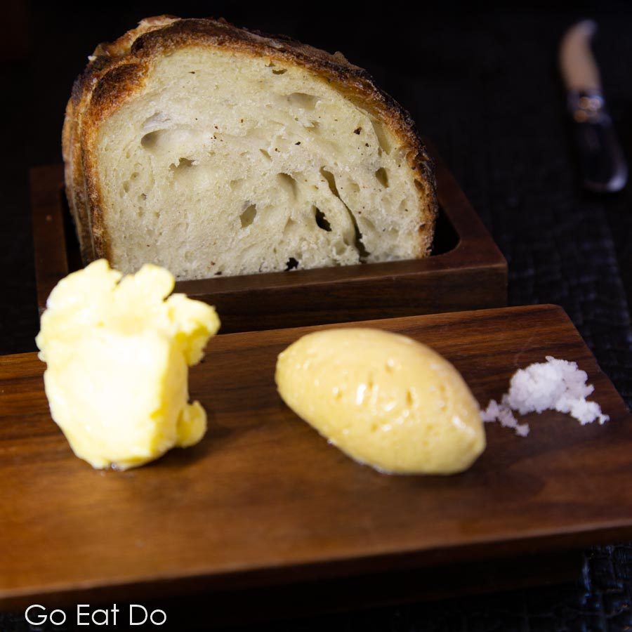 Bread and butter served at Le Cochon Aveugle in York, England