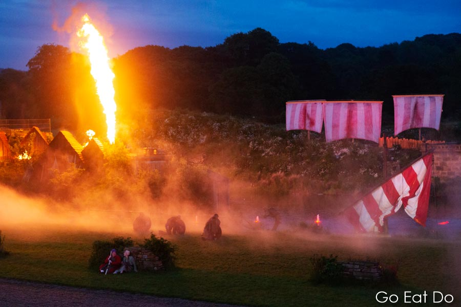 Pyrotechnics during a scene depicting the Viking invasion of England at Kynren in Bishop Auckland