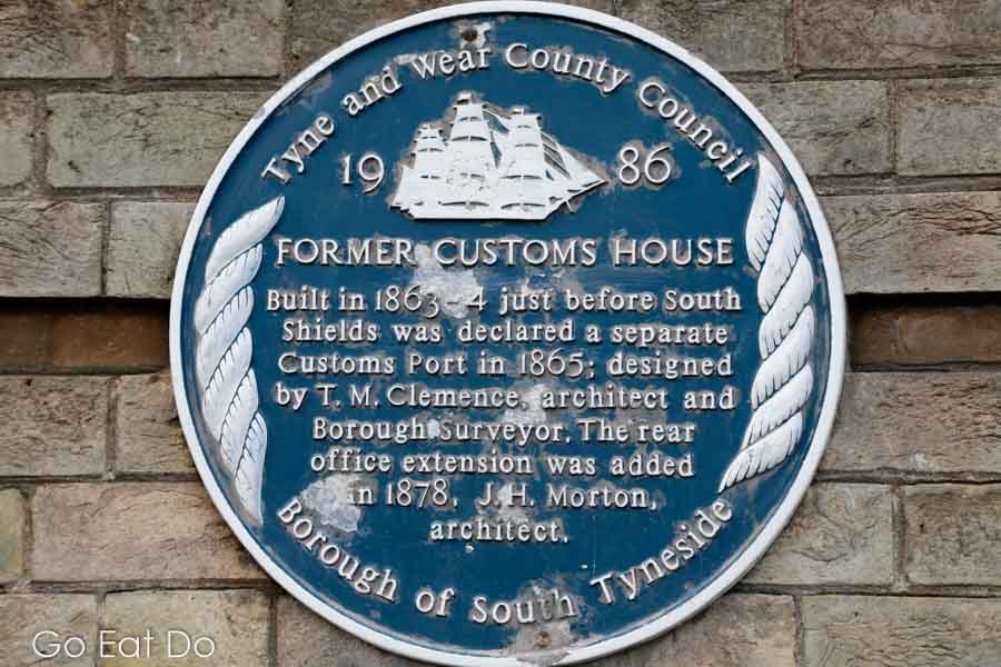 Blue plaque erected bt Tyne and Wear County Council on the wall of The Customs House in South Shields.