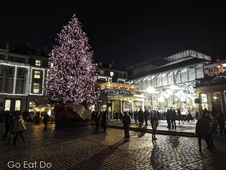 Christmas tree outside of London's Covent Garden Market.