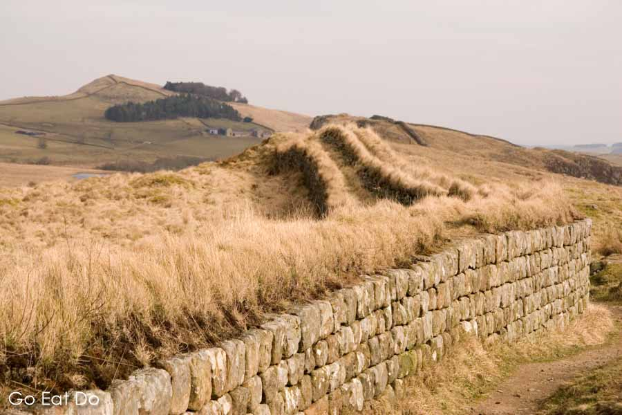Hadrian's Wall, the multinational UNESCO World Heritage Site, at Steel Rigg in Northumberland National Park in northern England.