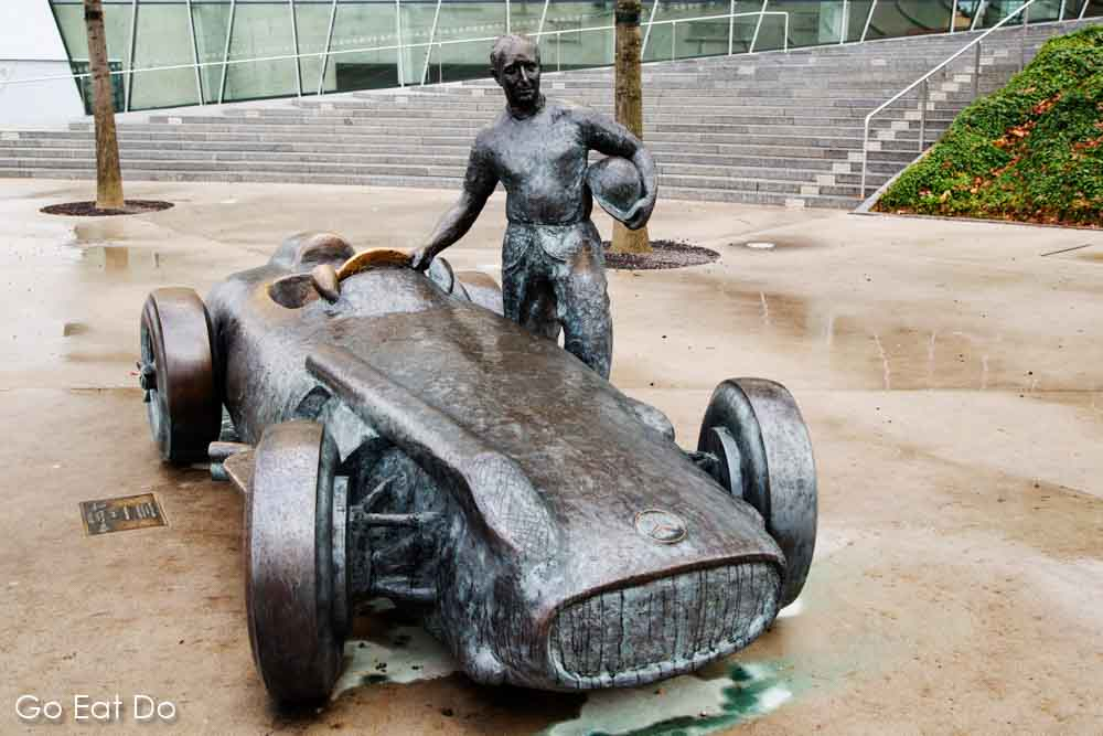 Statue of racing driver Juan Manuel Fangio outside of the Mercedes-Benz Museum in Stuttgart, Germany
