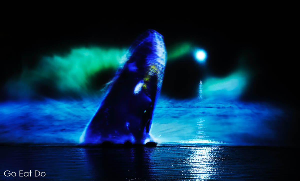 Mysticete, a 3D whale by Catherine Garret, on the River Wear during Lumiere Durham