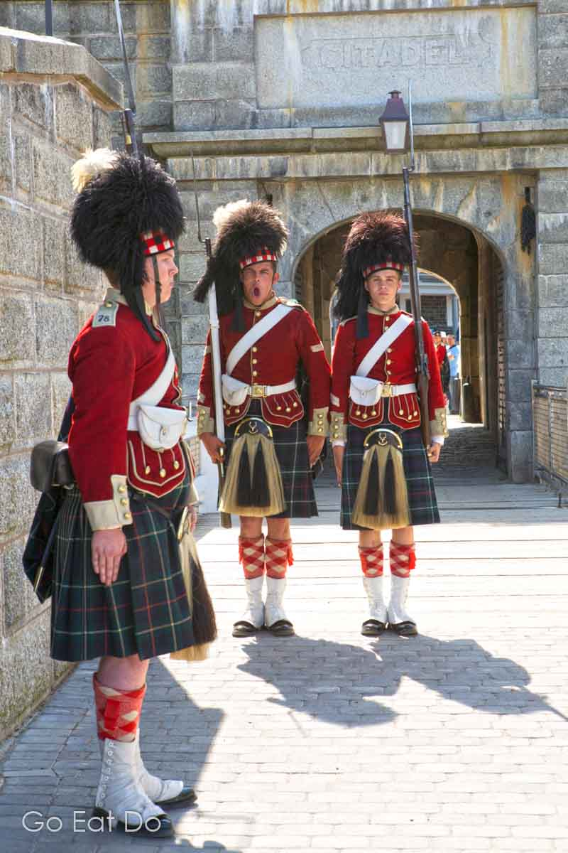 Changing of the guard. Men in the uniform of the 78th Highlanders at Halifax Citadel National Historic Site (Fort George), one of the top attractions in Halifax, Nova Scotia.
