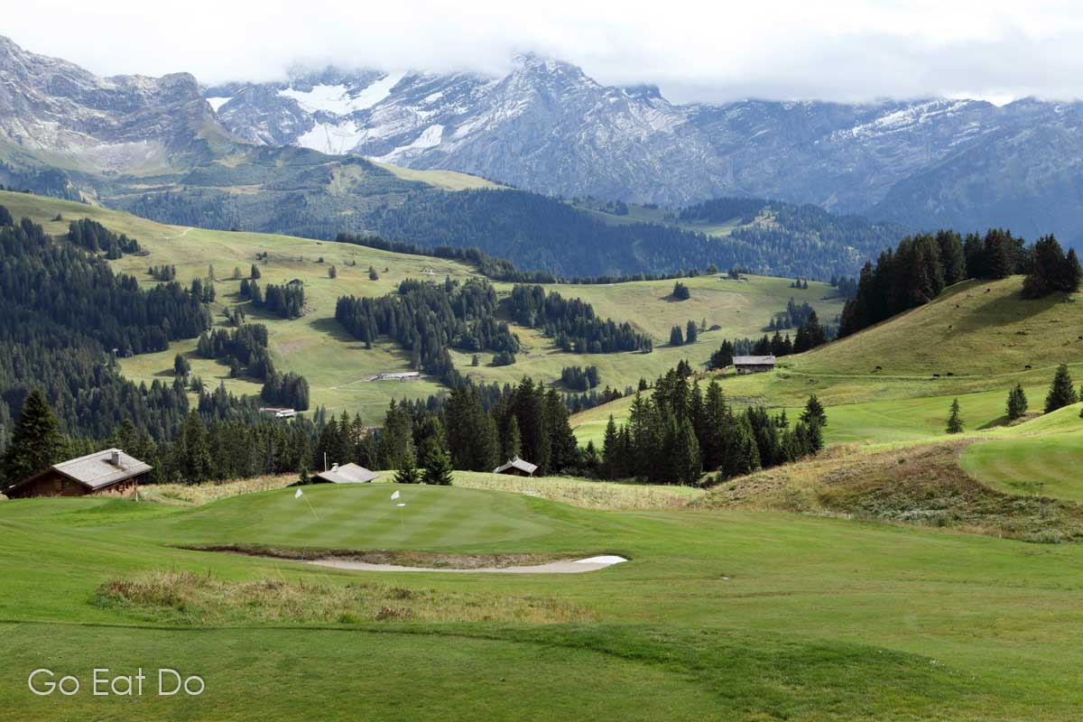 Green on the 18-hole golf course at Villars, Switzerland.