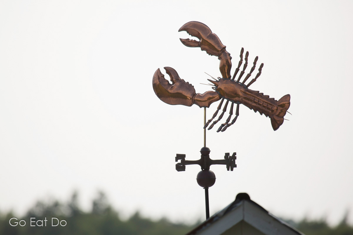 A lobster weather vane at Pictou, symbolic of the significance of lobster fishing to Nova Scotia's economy.