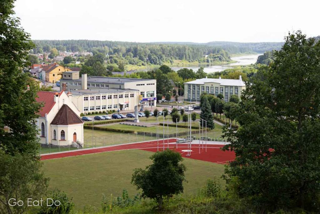 View towards the Daugava Valley from the observation platform in the grounds of Kraslava Palace.