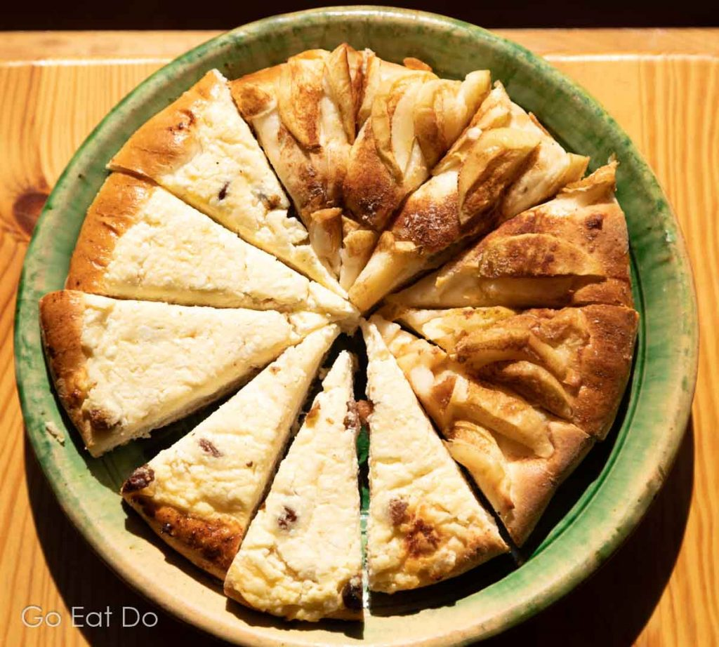 Slices of pie on a plate at the Bread Museum at Aglona in Latvia.