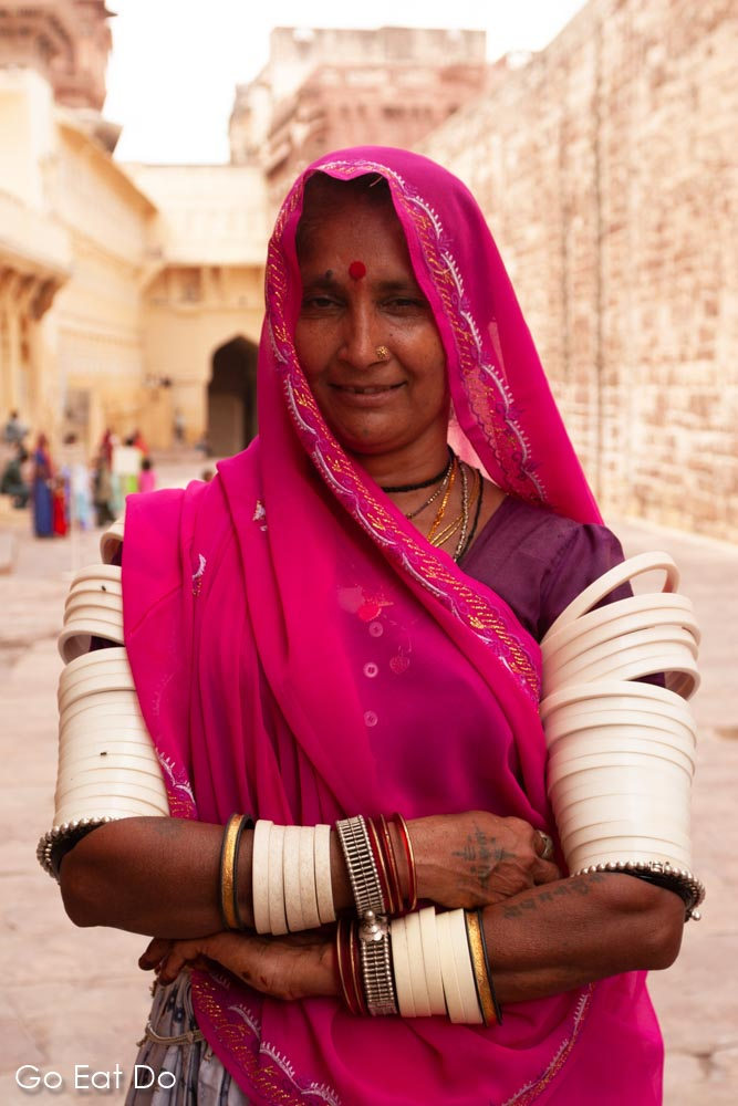 A Rajasthani woman wearing bangles.