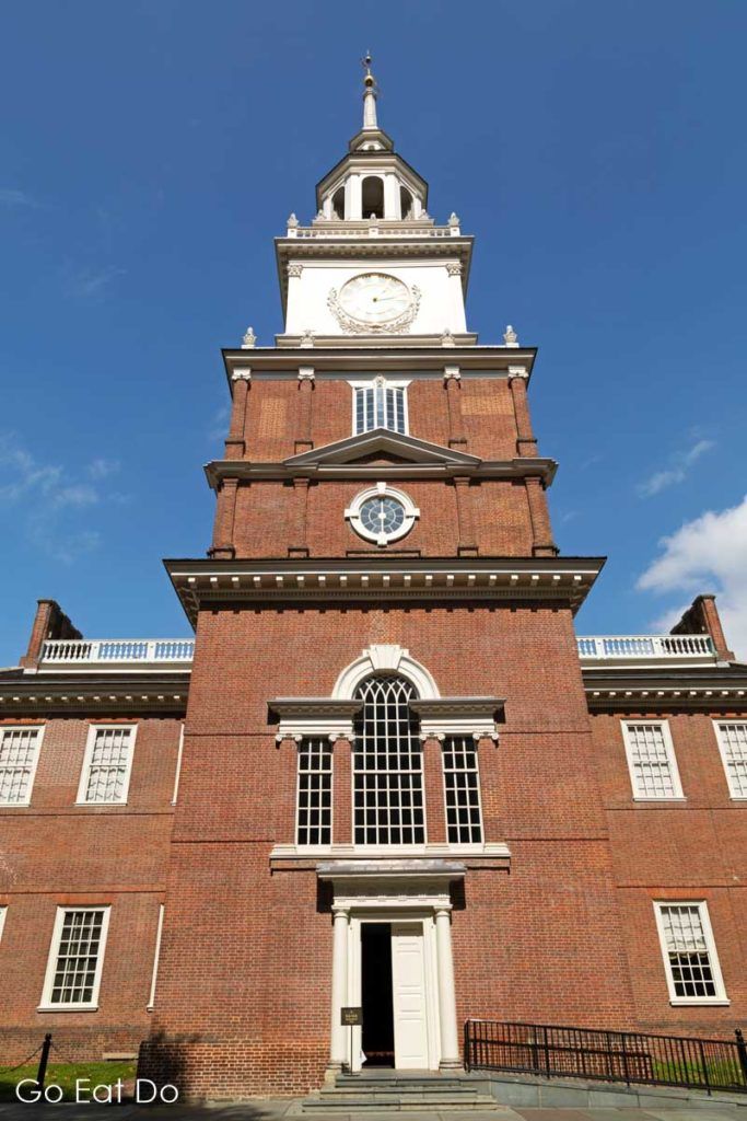 Independence Hall in Philadelphia. The UNESCO World Heritage Site was the place where the Declaration of Independence and United States Constitution were debated.