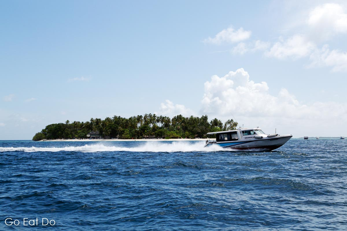 Motor boat on the Indian Ocean in the Maldives