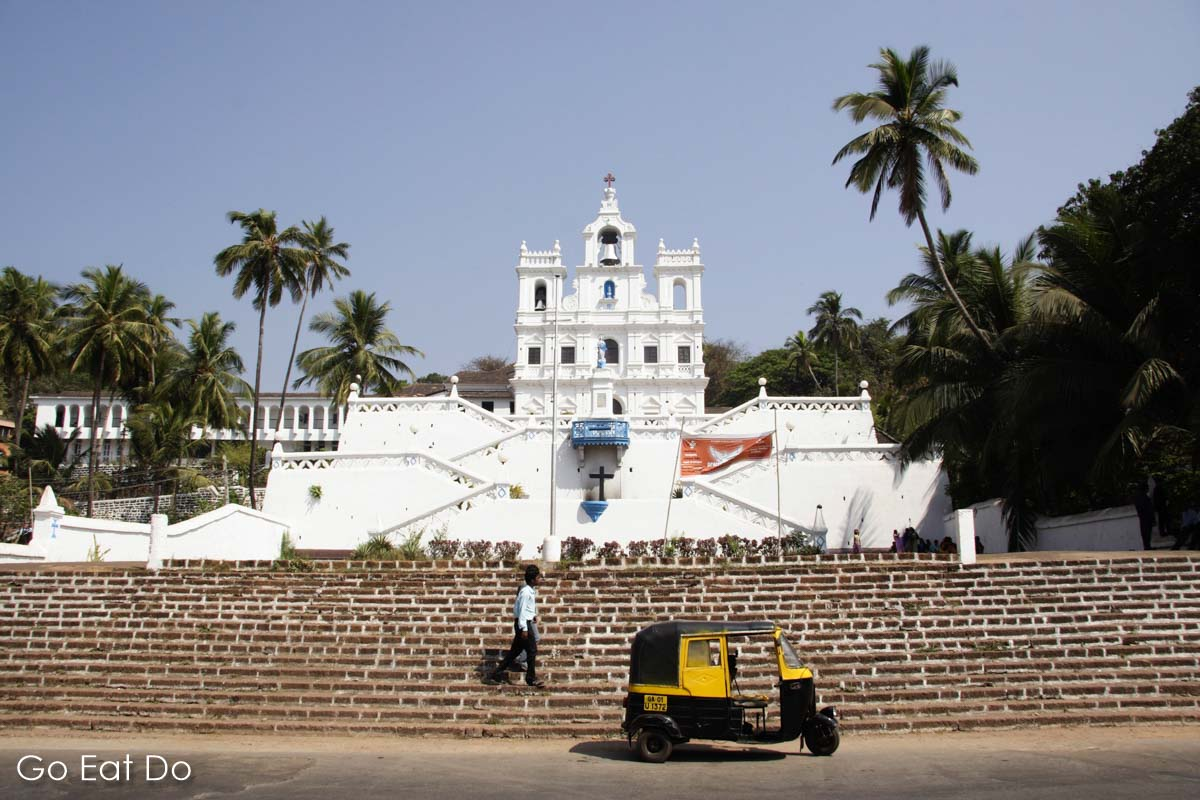 Rickshaw parked in front of the Church of Immaculate Conception in Panaji, Goa.